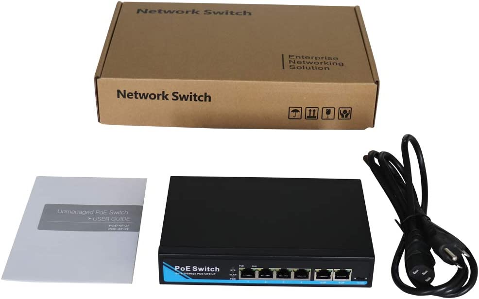 4 Port PoE+2 Port RJ45 Uplink Network Switch Switch Plug and Play IEEE802.3af//at 65Watts Power Over Etherrnet Switch 10//100Mbps 6 Port PoE