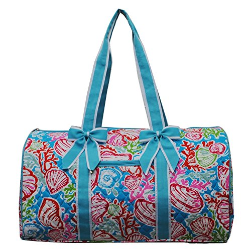 Summer Seashell Under Sea Print Quilted Ribbon Accent Gym Travel Dance Cheer Duffle Bag