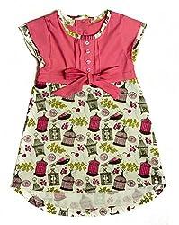 Origany Little Girls' Tropical Bird Pintucked Sleeve Top 5Y Light Pink