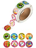 Reward Stickers - 1000-Count Reading Encouragement Sticker Roll for Kids, Motivational Stickers with Cute Animals for Students, Teachers, Classroom Use, 8 Designs, 1.5 Inches Diameter