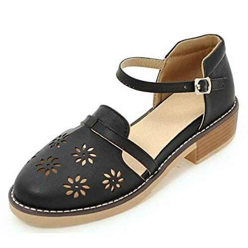 613 Sandals Classical Out Strap Women Block Black Heel Rome TAOFFEN Buckle Cut vnHqa5z