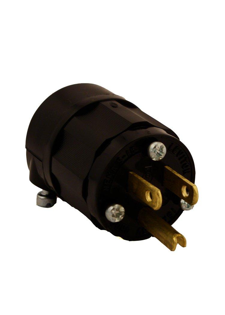 Black 125 Volt Grounding Plug Industrial Grade Straight Blade Leviton 5266-CB 15 Amp