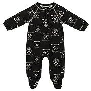 OuterStuff NFL Infant Oakland Raiders Raglan Zip-up Coverall Sleeper, Black 3-6 Months