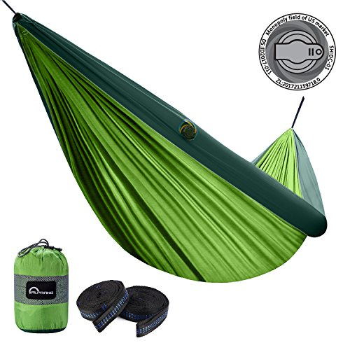 ALPRANG 2018 UPGRADE Inflatable Hammock, Portable Foldable Nylon Hammock with Tree Hanging Straps- The Best Double Hammock for Camping, Hiking, Beach, Travel, Backpacking (apple green) (Trees Apple Green)
