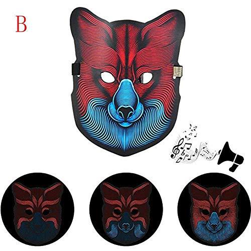 Tpingfe Sound Reactive LED Mask, Party Version Dance Rave Light up Adjustable Mask Halloween (B) ()