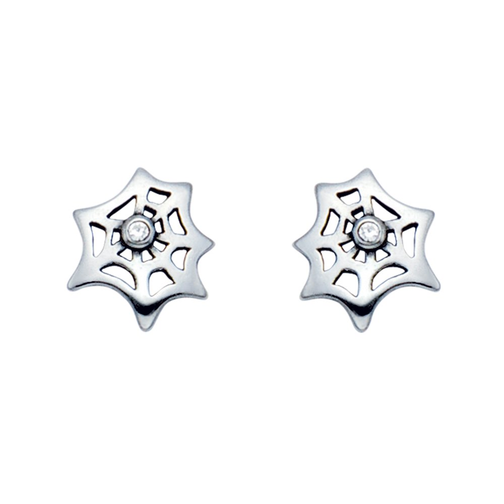 Small Stainless Steel Spider Web Stud Earrings w//Crystal Stone