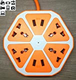 P U R Water Filter QOCOO Creative Fruit Hexagon Electric Power Strip 4 Outlets with 4 5V 2.1A USB 6.5ft US Type B Plug Converter Universal Socket Charging Station for Phone PC TV Laptops Home & Office Devices