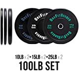 Contrast Bumper Plate Sets / Virgin Rubber with Steel Insert + Color Contrast Lettering / CrossFit, Strength Training and Weightlifting Equipment
