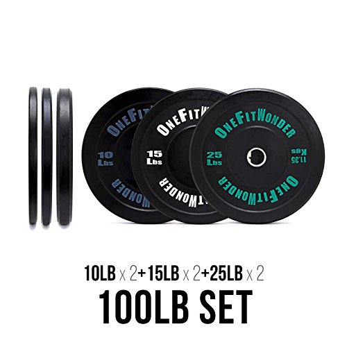 Contrast Bumper Plate Sets / Virgin Rubber with Steel Insert + Color Contrast Lettering / CrossFit, Strength Training and Weightlifting Equipment (100)