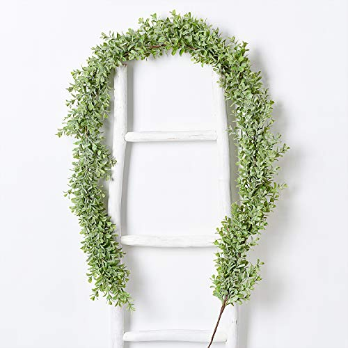 DearHouse Faux Boxwood Garland Plant, 6 Ft Artificial Vines Hanging Boxwood Leaves Greenery Garland for Wedding Backdrop Arch Wall Decor, UV Protected Indoor Outdoor ()
