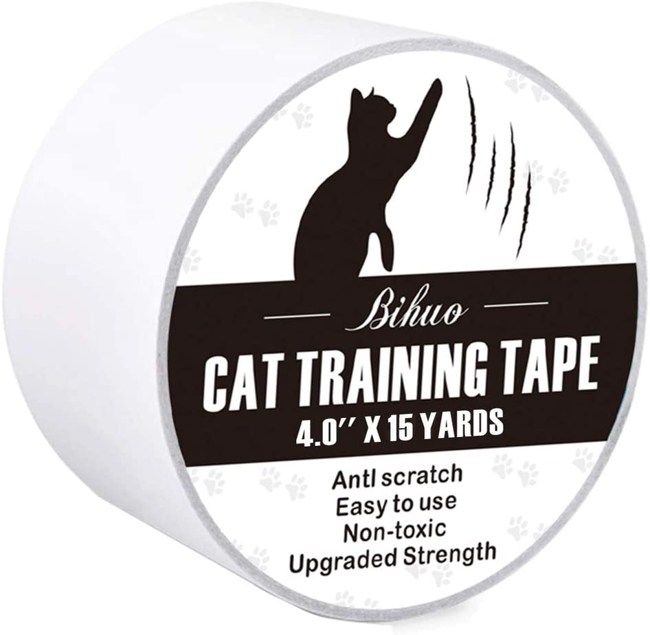 Bihuo Anti Cat Scratch Tape, Double Sided Cat Scratch Deterrent Sheets 4 Inches Wide Cats Scratch Protector Clear Sticky Paws Furniture Strips Cover for Couch Bed Sofa Door