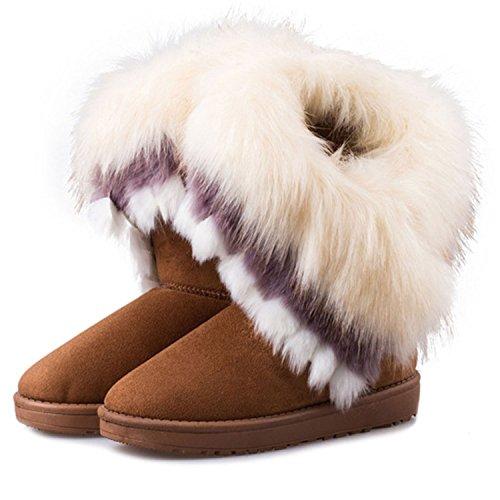 Boots Cosy Faux Sole Yellow Warm Slip Non SAGUARO Lining Slipper Fur Womens qwtwa4