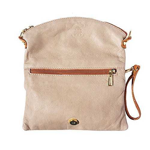 Cow Clutch Folded Soft Leather Taupe Light 9602 leather vaWv1Z