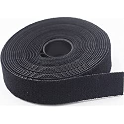Nylon Cable Tie Roll (3/4 Inch x 5 Yards) Black - Reusable Nylon Strap - Double Side Hook & Loop - Power Cords Wires Management - One Wrap Strap