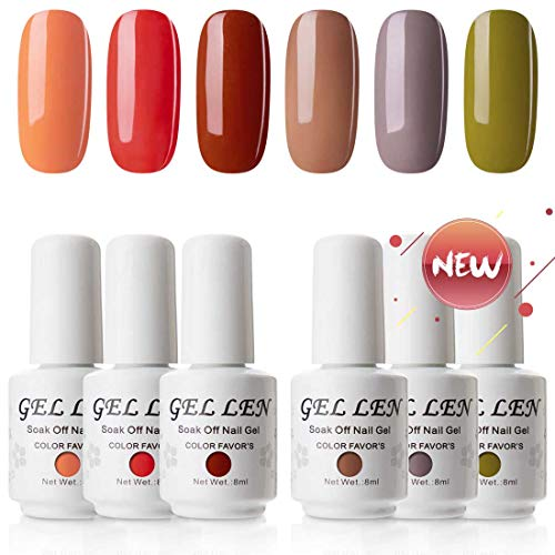 Gellen UV Gel Nail Polish Kit, Fall Colors Series 6 Colors - Popular Autumn Winter Colors