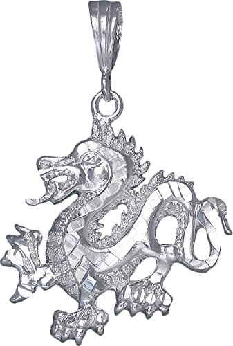 Diamond Dragon Charm (Sterling Silver Dragon Charm Pendant Necklace Diamond Cut Finish with Chain (With 24
