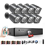 Rraycom Security Camera System Home Security 8 Channel 1080H AHD DVR Recorder 2TB Hard Drive Preintalled with 8 HD 2000TVL Waterproof Night Vision Indoor/Outdoor CCTV Surveillance Cameras