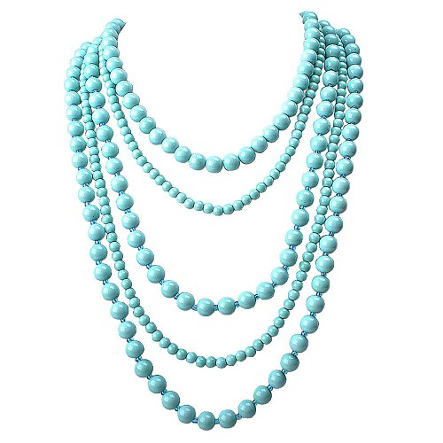 Beaded Necklace Designs (PearlPlus Multi Layered Bead Strand Blue Statement Chunky Imitation Turquoise Long Chain Bib Necklace for Women)