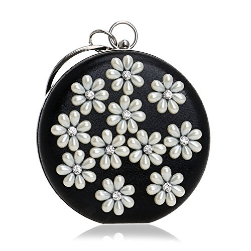 Shoulder Gift Party Wedding Clubs Purse Flower Ladies For Pearl Prom Circular Glitter Handbag Evening Black Bag Clutch Bag Diamante Women Bridal qwvHAS