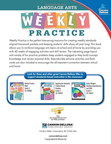 Language Arts, Grade 3 (Weekly Practice) by Carson-Dellosa