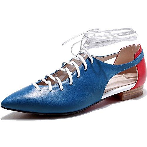 Nine Seven Cuero Moda Puntiagudos Zapatos de Cordones Planos con Hueco para Mujer Azul