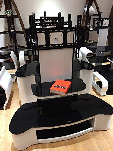 Fernseh-Sideboard, matt, weißer TV Ständer mit schwarzem Sicherheitsglas & Halterung, für 32 -65 Zoll Fernseher (ca. 81,28–165,1cm)