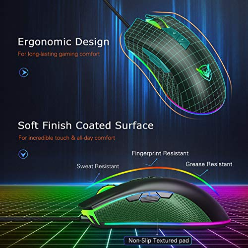 PICTEK Gaming Mouse Wired-Chroma RGB Lighting- High Precision 10,000 DPI  Optical Sensor-Programmable Game Mice Design for Average Size Hand, PC  Gaming