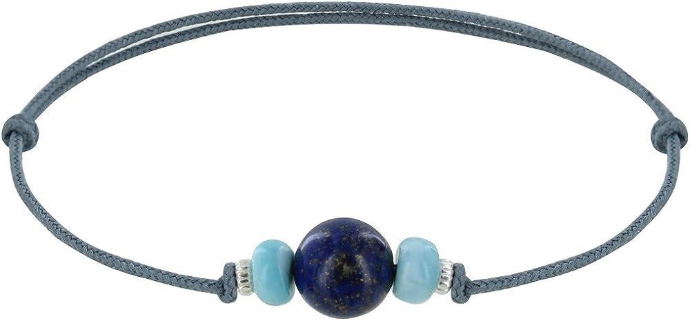 Joyas Les Poulettes - Pulsera Enlace de Sintético Perla de Lapis Lazuli Dos Anillos de Larimar y Plata