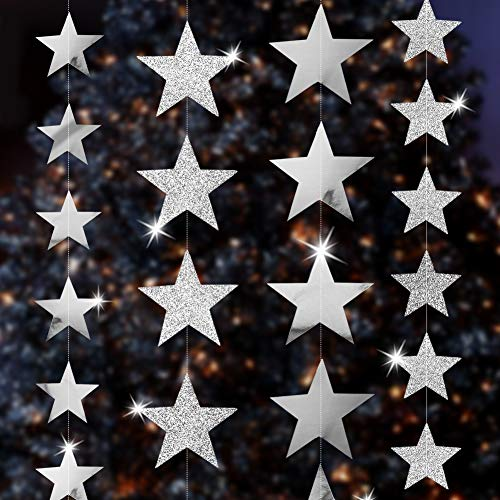 Silver Star Decorations For Parties - Silver Star Decorations, 52 Feet Silver