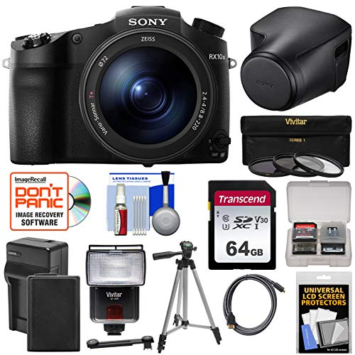 Sony Cyber-Shot DSC-RX10 III 4K Wi-Fi Digital Camera with LCJ-RXJ Leather Case + 64GB Card + Battery & Charger + Flash + Filters + Tripod + Kit Charger Leather Case Lcd