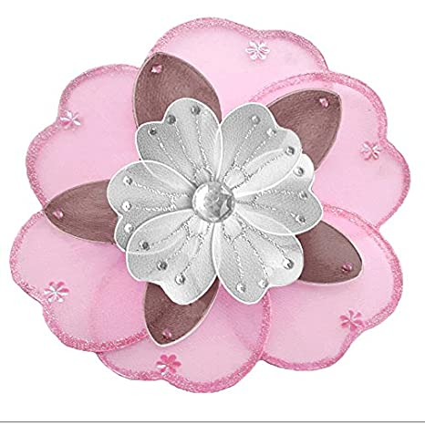 Amazon.com: Colgante Flor Rosa café y blanco Triple Layered ...