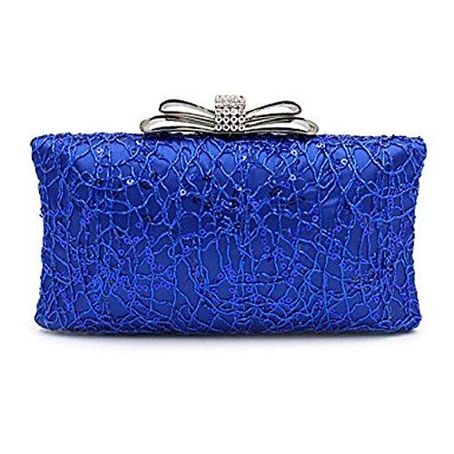 Noir Sac Argent CliquetBleu Nylon Saisons Paillette Soirée BLUE les Polyester Décontracté de Mariage Femme Fête KYS Toutes soirée Minaudière S5wTTa