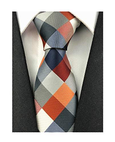Elfeves Men Modern Tartan Formal Ties Checks Plaid Gingham Pattern Woven Necktie (One Size, Plaid 2)