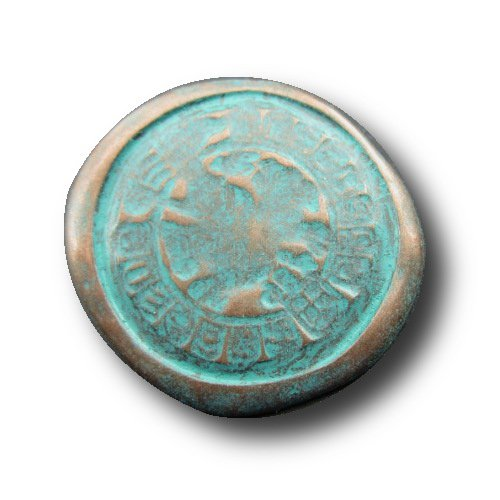 ng Buttons - Set of 5 Vintage Look Metal Buttons, Looking Like Old Coins, Historic Design, Medieval - Colour: Aged Copper / Brass (Patina Green), Ø approx. 25x28mm ()