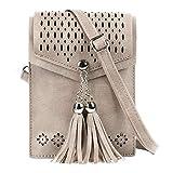 seOSTO Women Small Crossbody Bag, Tassel Cell Phone Purse Wallet