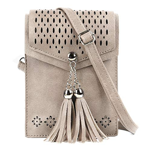 seOSTO Women Small Crossbody Bag, Tassel Cell Phone Purse Wallet]()