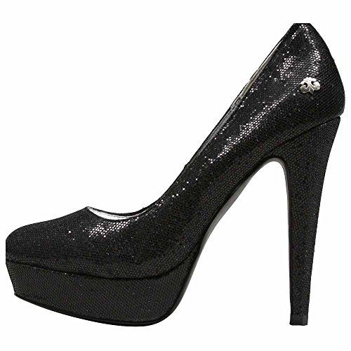 Dereon Coral-B Womens Fabric Platforms Heels Shoes Black 58y5zg