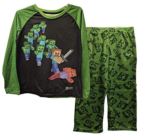 Minecraft Steve Battling Zombies Fleece 2 Piece Pajama Sleep Set (Small (6/7)),Green