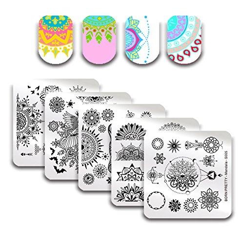 Born Pretty 5Pcs Nail Art Stamping Plates Set Spring Mandala Series Flower Floral Manicure Print Image Templates (Pretty Spring)