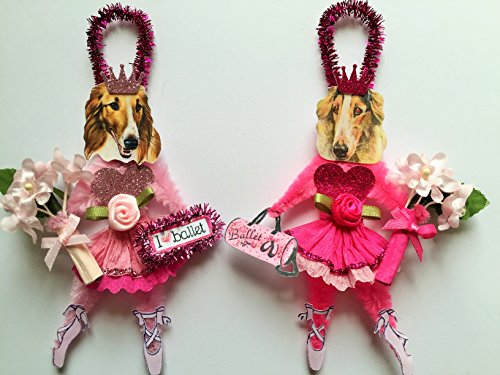 Borzoi BALLERINA ORNAMENTS Ballet Vintage Style Chenille Ornaments Set of 2