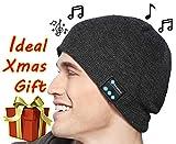Bargeebai Unisex Beanie Hat Bluetooth Wirless Upgraded Loud Stereo Speaker Unique Awesome Cute Fall Winter Birthday Tech Gifts Under 20 Teen Boy Man Woman Girl Knit Skull Cap (Dark Gray)