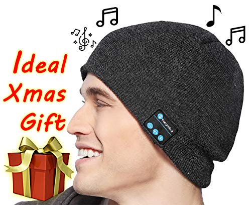 Bluetooth Wireless Beanie Hat Unique Awesome Christmas Tech Gifts Under 20 Teen Boy Man Woman Girl Party Unisex Stereo Speaker and Microphone Knit Skull Cap (Dark ()