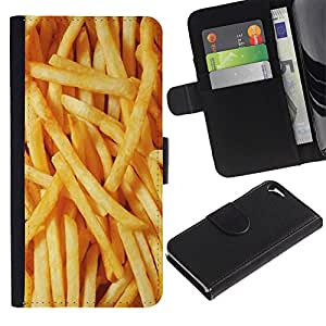 A-type (French Fries Junk Food Fast Yellow) Colorida Impresión Funda Cuero Monedero Caja Bolsa Cubierta Caja Piel Card Slots Para Apple Iphone 5 / 5S