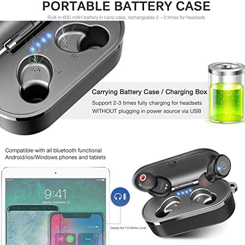 TOZO T10 Bluetooth 5.0 Wireless Earbuds with Wireless Charging Case IPX8 Waterproof TWS Stereo Headphones in Ear Built in Mic Headset Premium Sound with Deep Bass for Sport Black 51SvmIS 2BHWL