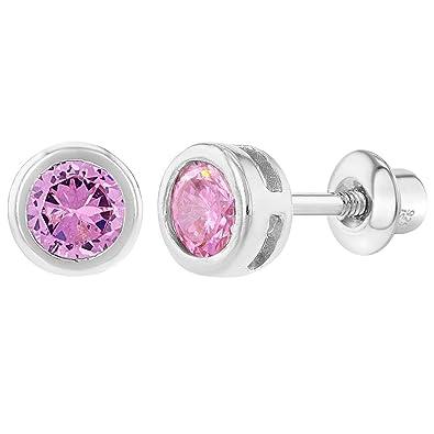 a9167730b4ff En Season Jewelry - Bisel de rosca Pendientes bebé niña redondo plata de  ley 925 rosa cz Circonita 5 mm  Amazon.es  Joyería