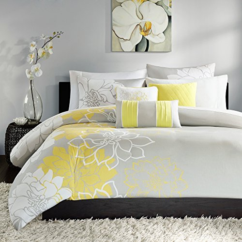 6 Piece Girls, Mid-Century Floral Pattern Duvet Cover Set King, Contemporary Modern Large Scale Flower Printed Design, French Country Bouquet Themed, Gorgeous Bedding, White, Yellow, Grey Color by AF ULTRA