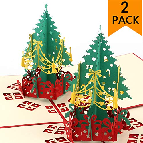 Pop Up Christmas Cards,2 Pack 3D Christmas Cards Handmade Holiday Greeting Cards Santa Claus Pop Up Cards Merry Christmas Greeting Cards for Xmas/New Year/Holiday (2 Pack Christmas Tree)