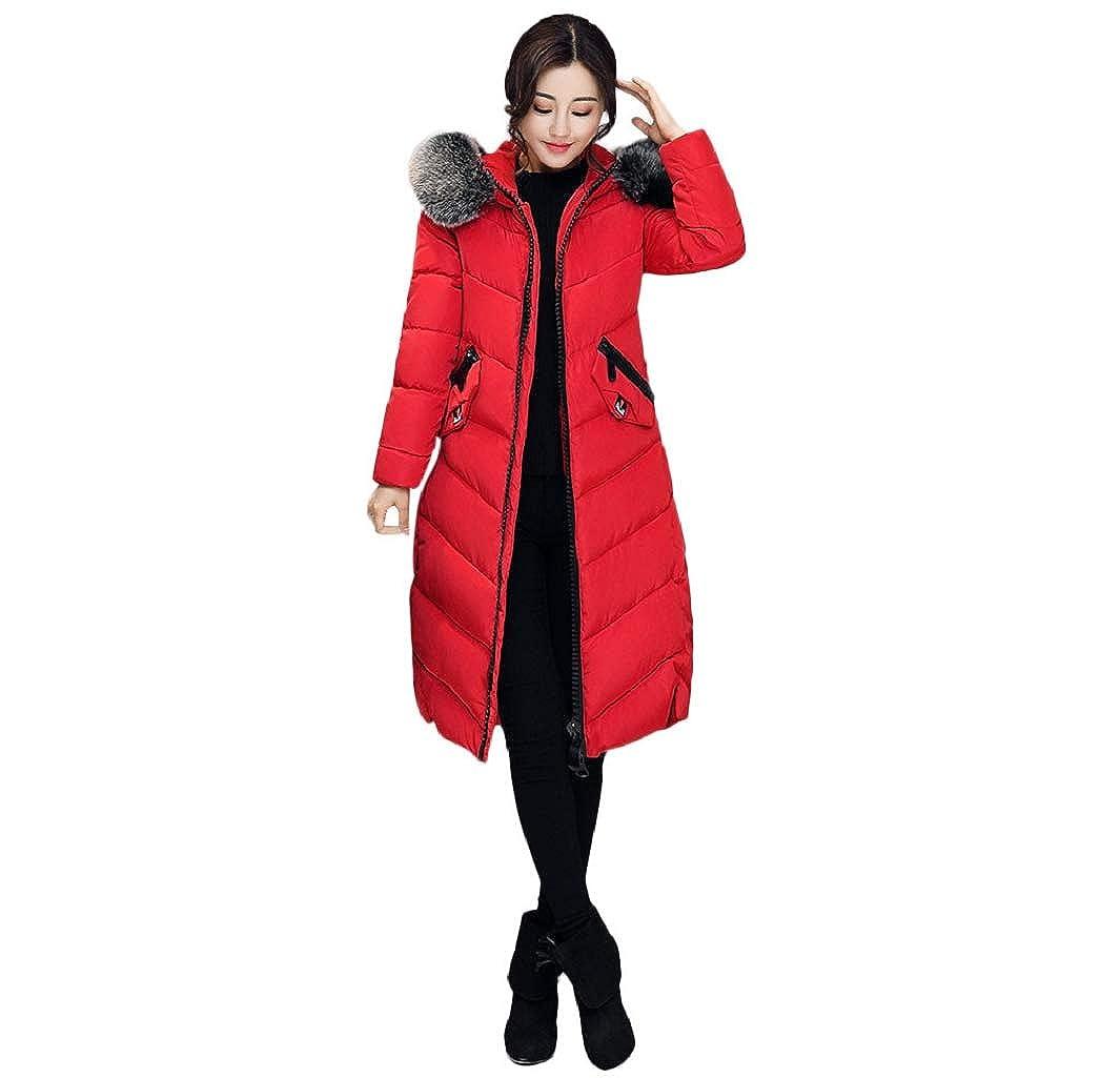 Manadlian Damen Winterjacke mit Kapuze Frau Oberbekleidung Taste Mantel Lange Baumwolle gepolstert Jacken Tasche Pelz Kapuzenmä ntel