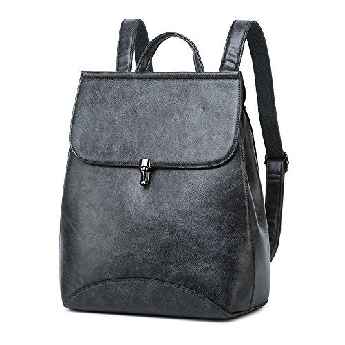 WINK KANGAROO Fashion Shoulder Bag Rucksack PU Leather Women Girls Ladies Backpack Travel bag (Dark grey)