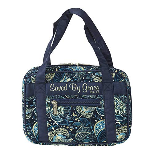 Saved by Grace Cross Navy Cotton Thinline Bible Cover Case with Purse Handles, Medium